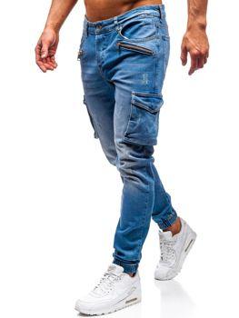9a19c335410 Мужские джинсовые брюки джоггеры синие Bolf 3002