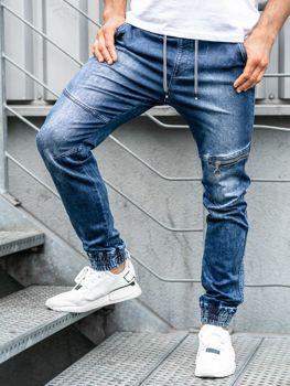 Мужские джинсовые брюки джоггеры темно-синие Bolf KA757