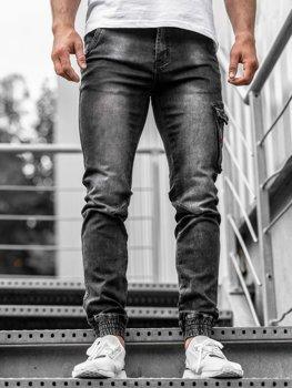 Мужские джинсовые брюки джоггеры черные Bolf  KA738