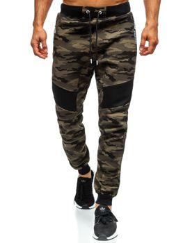 Мужские спортивные брюки джоггеры камуфляж зеленые Bolf TC873
