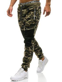 Мужские спортивные брюки камуфляж-зеленые Bolf QN274