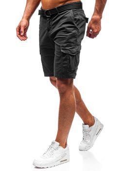 Мужские шорты карго с ремнем черные Bolf 5611-A