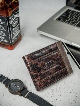 Мужской кожаный кошелек коричневый 3162