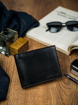 Мужской кожаный кошелек черный 4589