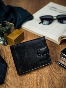 Мужской кожаный кошелек черный 4590
