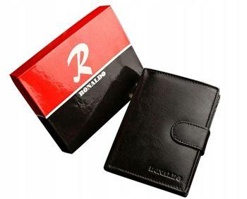 Мужской кожаный кошелек черный 601