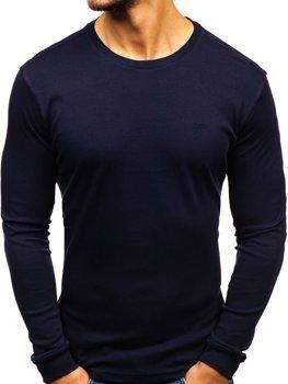 Мужской лонгслив без принта темно-синий Bolf 145359
