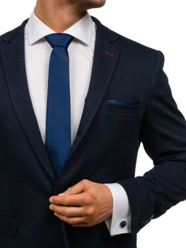 Мужской набор галстук, запонки, пашетка насыщенный темно-синий Bolf KSP01