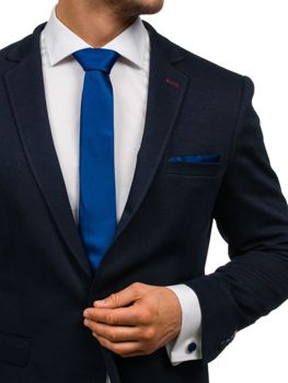 Мужской набор галстук, запонки, пашетка темно-синий Bolf KSP01