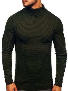 Мужской свитер гольф зеленый Bolf 4518