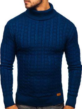 Мужской свитер гольф синий Bolf 16