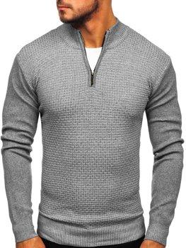 Мужской свитер на застежке серый Bolf 8255