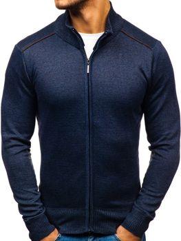 Мужской свитер на застежке темно-синий Bolf BM6077