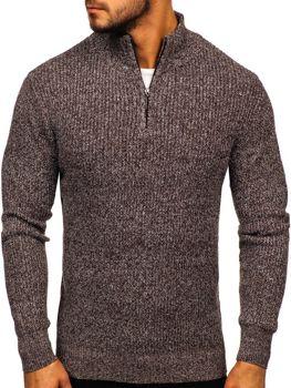 Мужской свитер с воротником стойка коричневый Bolf H1936