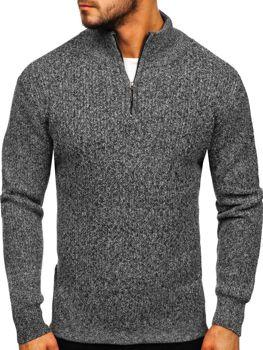 Мужской свитер с воротником стойка серый Bolf H1936