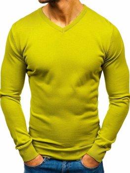 Мужской свитер с v-образным вырезом светло-зеленый Bolf 2200