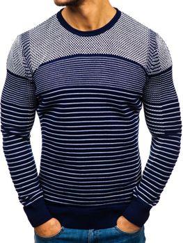 Мужской свитер темно-сине-белый Bolf 1015