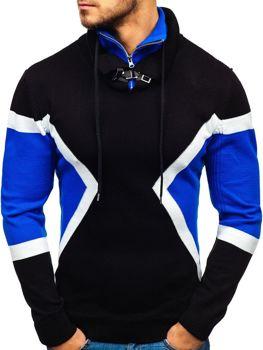 Мужской свитер черно-синий Bolf 1011