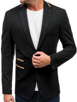Мужской элегантный пиджак черный Bolf 9400