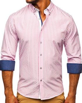 Розовая мужская рубашка в полоску с длинным рукавом Bolf 20704