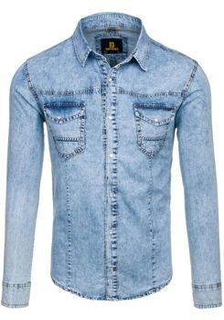 Рубашка джинсовая мужская DENIM REPUBLIC 4416 голубая