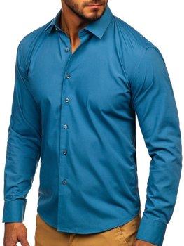 Рубашка мужская элегантная с длинным рукавом графитовая Bolf 0001
