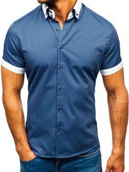 Рубашка мужская BOLF 1808 темно-синяя