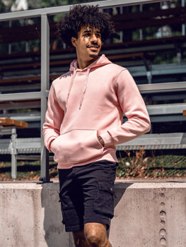 Светло-розовая толстовка с капюшоном мужская кенгуру Bolf 1004