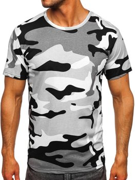 Светло-серая хлопковая футболка мужская с принтом камуфляж Bolf 14930