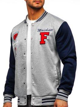 Серая толстовка-куртка мужская тонкая бейсбольная с принтом Bolf B10160