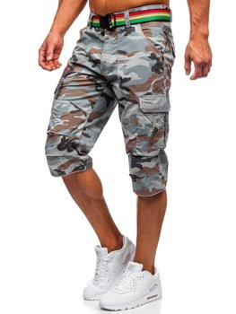 Серые мужские шорты-карго камуфляж с поясом Bolf AR5906