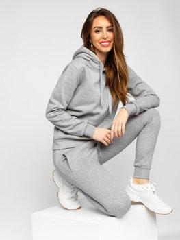 Серый женский спортивный костюм с капюшоном Bolf 0002