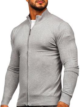 Серый мужской свитер на молнии Bolf YY07