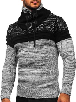 Серый мужской свитер толстой вязки с воротником-стойкой Bolf 2058
