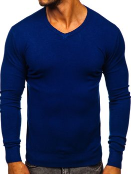 Синий мужской свитер с V-образным вырезом Bolf YY03