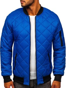 Синяя демисезонная мужская куртка-бомбер  Bolf MY-01