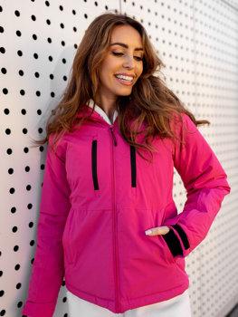 Темно-розовая зимняя женская лыжная куртка Bolf HH012