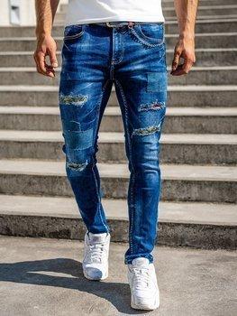 Темно-синие мужские джинсы slim fit Bolf с поясом 80034W0