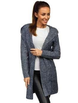Темно-синий женский свитер кардиган Bolf MM1806