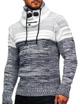 Темно-синий мужской свитер толстой вязки с воротником-стойкой Bolf 2058