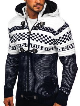 Темно-синий мужской свитер толстой вязки Bolf 2061