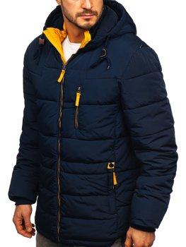 Темно-синяя желтая стеганая мужская зимняя куртка с капюшоном Bolf M72073