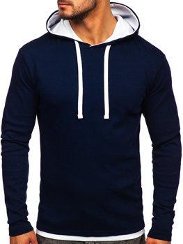 Темно-синяя мужская толстовка с капюшоном Bolf 03
