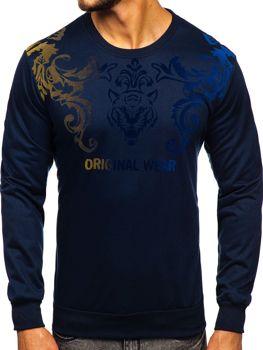 Темно-синяя мужская толстовка с принтом без капюшона Bolf HY697