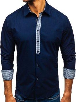 Темно-синяя мужская элегантная рубашка с длинным рукавом Bolf 0939