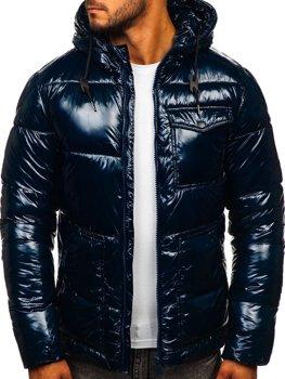 Темно-синяя стеганая зимняя мужская спортивная куртка Bolf 973