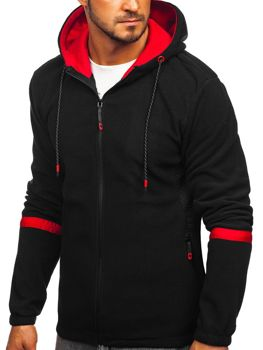 Толстовка мужская флисовая с капюшоном черная Bolf YL007