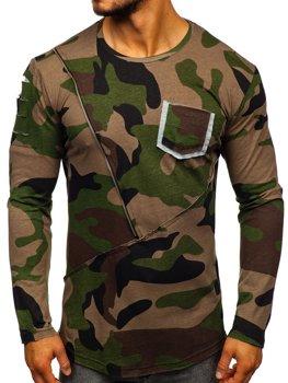 Хаки мужская футболка с длинным рукавом с принтом камуфляж Bolf 1090