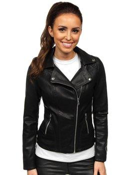 Черная женская кожаная куртка-косуха Bolf 2059