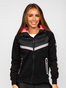 Черная женская стеганая демисезонная куртка с капюшоном Bolf KSW4012